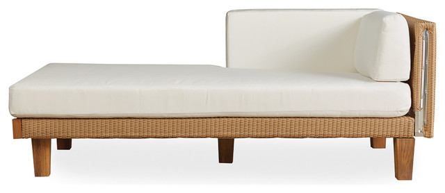 Lloyd Flanders Catalina Right Arm Chaise, Almond Finish, Prado Sun Kiss Fabric.