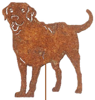 Labrador Retriever Garden Stake Or Wall Hanging / Memorial / Black Lab,  Rustic, Rustic