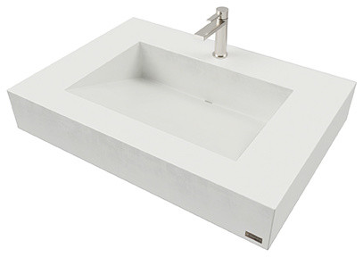 "30"" ADA Floating Concrete Ramp Sink, White Linen"