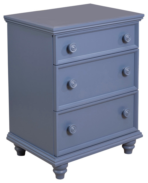 Notting Hill Night Stand 3-Drawer, French Blue.