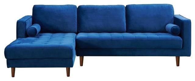 Astounding Carolina Sectional Sofa Blue Velvet Left Hand Facing Andrewgaddart Wooden Chair Designs For Living Room Andrewgaddartcom