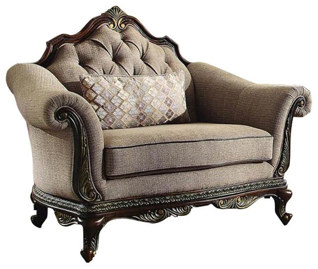 Homelegance Bonaventure Park Upholstered Chair In Brown Chenille Victorian Upholstered