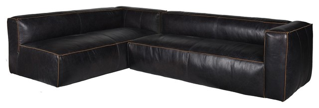 nolita saddle black leather modular sectional sofa