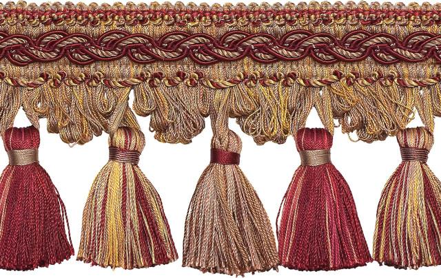 "Burgundy By The Yard Red|2.5/"" Tassel Fringe Trim|Golden Cherries Gold"