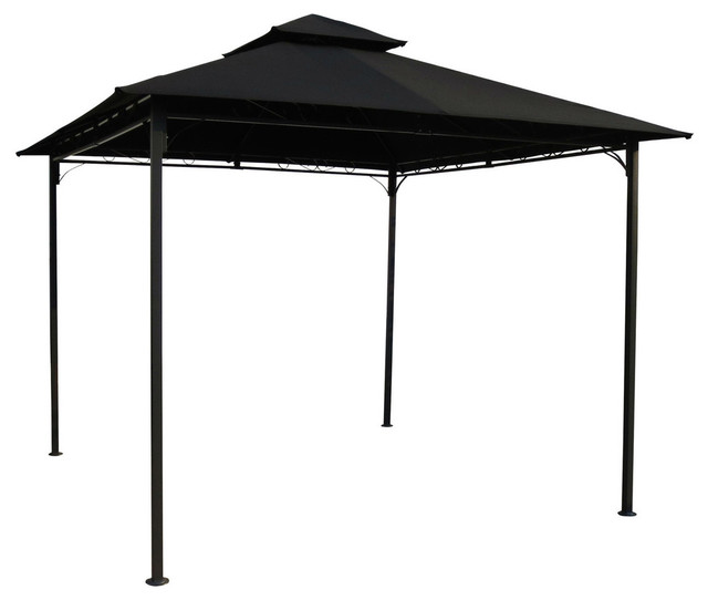 10&x27;x10&x27; Outdoor Gazebo With Black Weather Resistant Fabric Canopy.