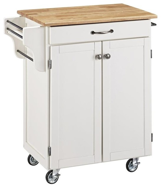 Kitchen Cart In White Finish Contemporary Kitchen Islands And Kitchen Carts By Shopladder