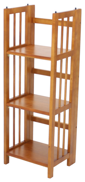 Yu Shan 3 Shelf Folding Stackable Bookcase In Honey Oak.