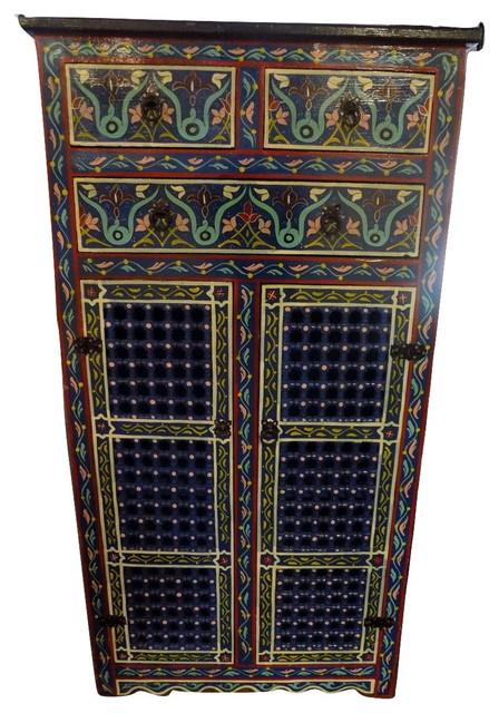Handpainted Moroccan Cabinet Handmade, Dark Blue.