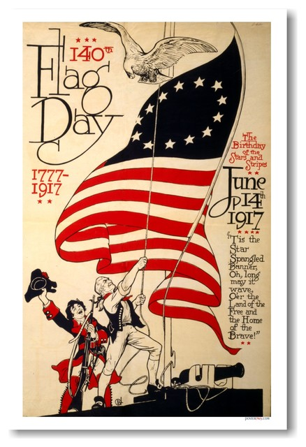 140th Flag Day 1777 - 1917 - Vintage Artwork Reprint Poster ...