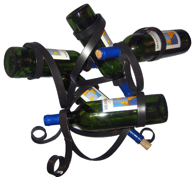 Steel Sculpture 5-Bottle Wine Holder.