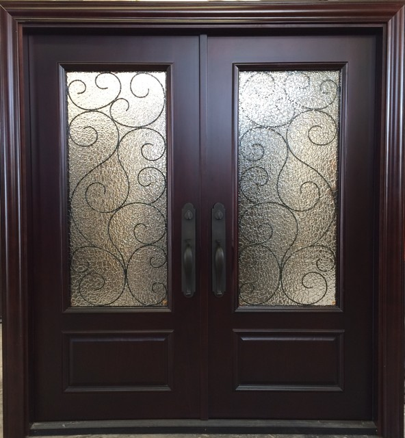 Mahogany double entry doors with metal core traditional for High end front doors