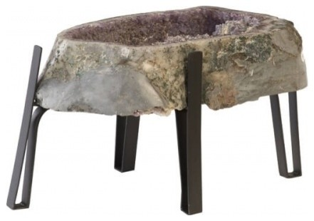 Admirable 25 W Crystal Top Coffee Table Large Natural Amethyst Crystal Black Metal Base Home Interior And Landscaping Ferensignezvosmurscom