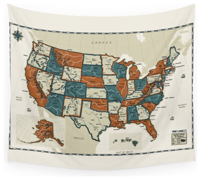 Usa Vintage Map Wall Hanging Tapestry - Medium: 68  x 80