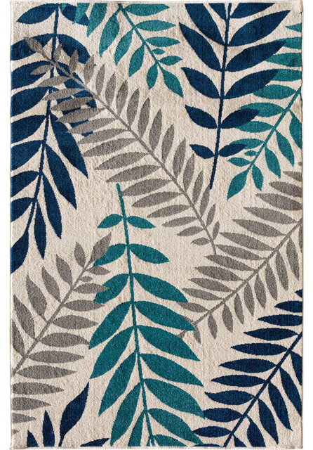 """Terrace Tropic Rug, Snow and Sapphire, 7'10"""" X 9'10"""""""