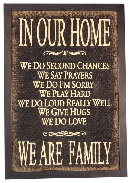 In Our Home We Do Second Chances Family Wood Burlap 24 Box Sign