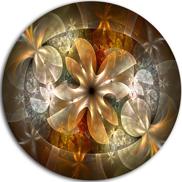 Fractal Flower With Blue Details, Floral Digital Round Wall Art, 38.