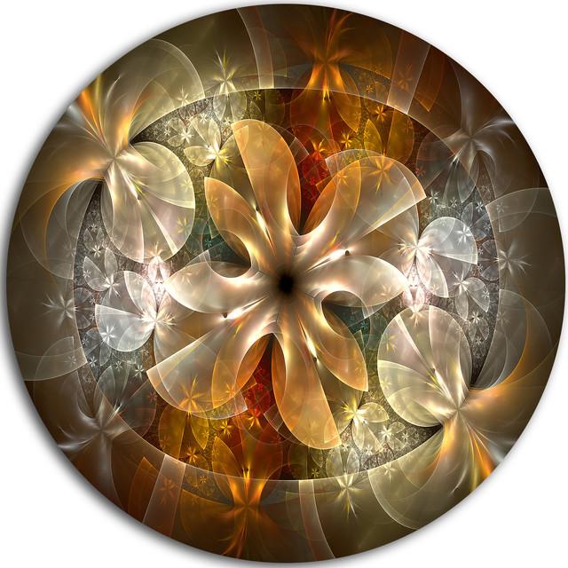 "Fractal Flower With Blue Details, Floral Digital Round Wall Art, 38"". -1"