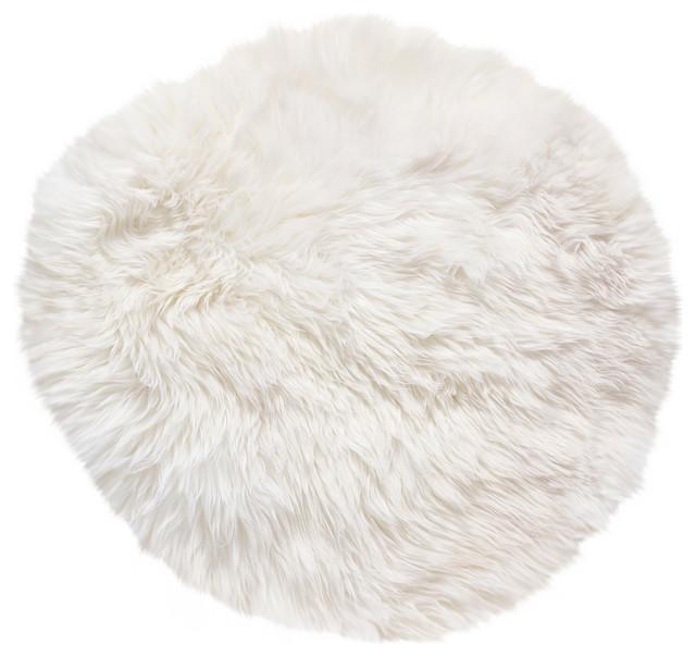 Round New Zealand Sheepskin Rug, 70 Cm