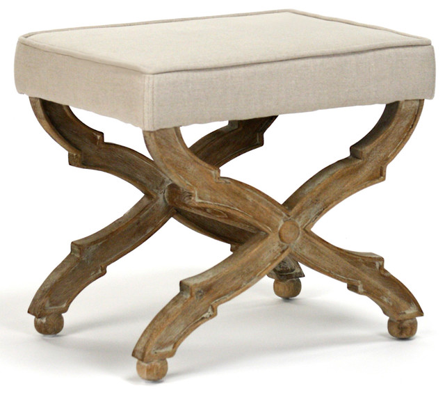 French Country Limed Gray Oak Ottoman Traditional