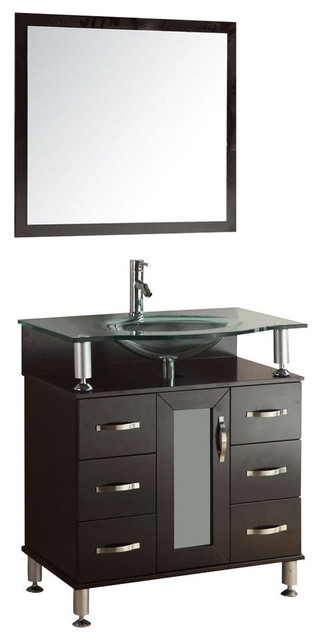 32 Modern Vanity Bathroom Furniture Glass Top Tempered Glass Sink.