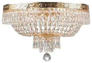 Light French Empire Crystal Plush Ceiling Chandelier