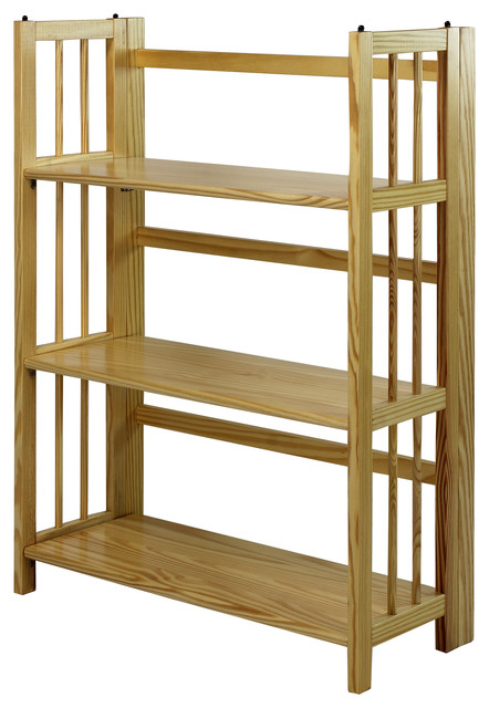 3 shelf folding bookcase natural 275 3 shelf - Folding Bookcase