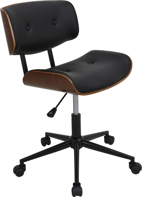 Office Chairs Pictures Lombardi Height Adjustable Office Chair With Swivel Walnut Black Midcenturyofficechairs Chairs Pictures