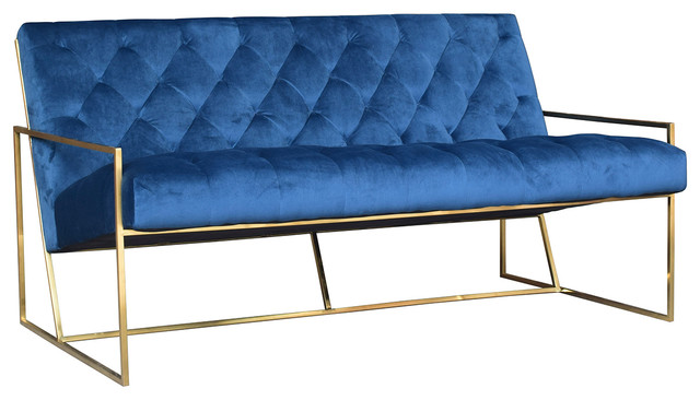 Modern Blue Tufted Bench. -2