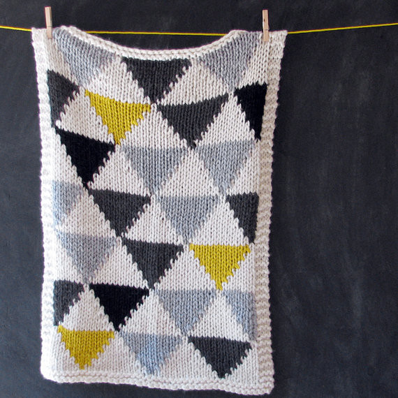 Knitted Triangle Pattern Baby Blanket by Yarning Made