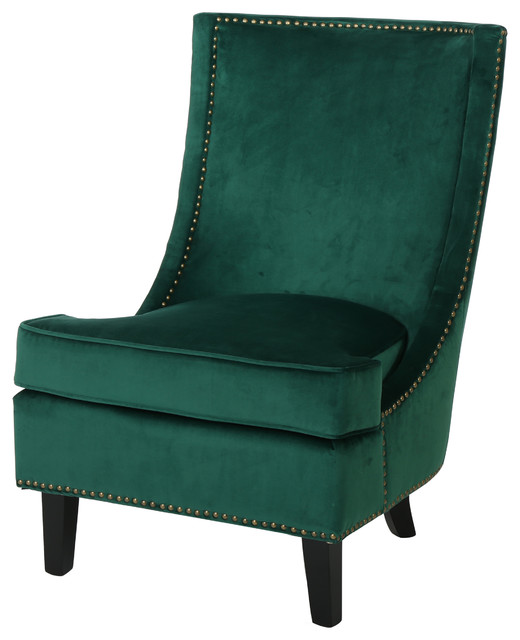 Adette Velvet High Back Studded Edge Club Chair, Dark Green Armchairs And  Accent