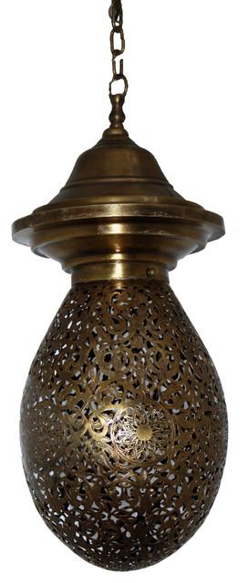 Moroccan Hanging Brass Lantern, Teardrop Shaped Mediterranean Pendant  Lighting