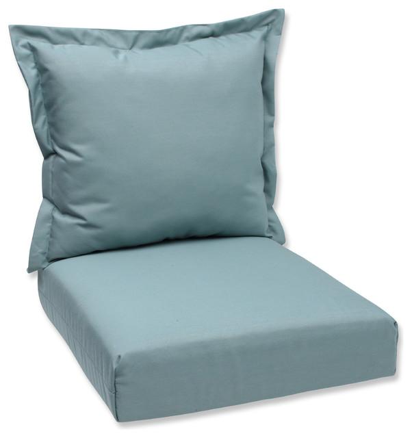 Modern Outdoor Lumbar Pillows : Deep Seating Cushion and Back Pillow with Peacock Sunbrella Fabric - Contemporary - Outdoor ...
