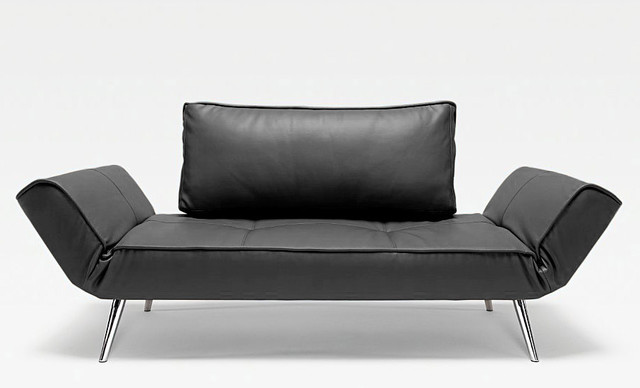 Innovation Usa Zeal Deluxe Black Leather Daybed Chrome Legs 825 25 Moderne