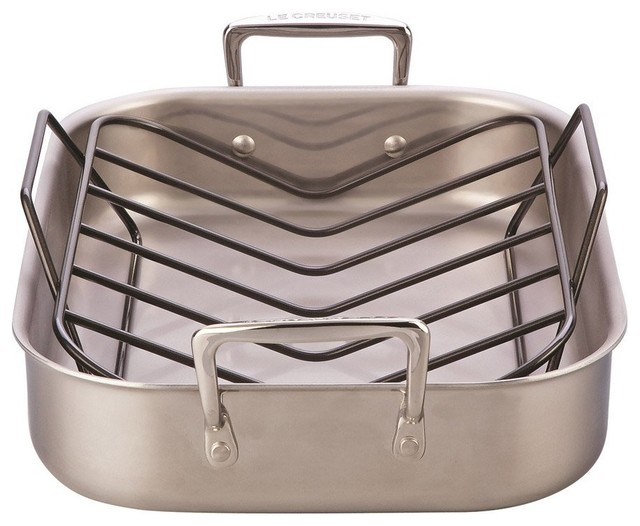 Le Creuset Large Stainless Steel Roasting Pan And Rack Set.