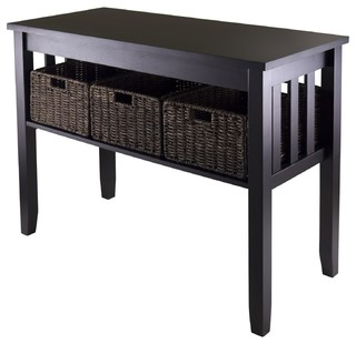 Morris Console Hall Table With 3 Foldable Baskets Tropical Tables By Ere
