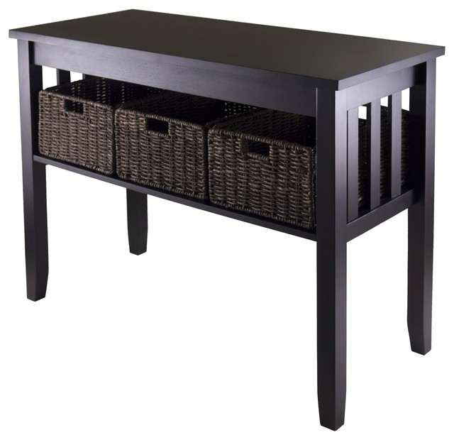 Wall Console Table morris console hall table with 3 foldable baskets - transitional