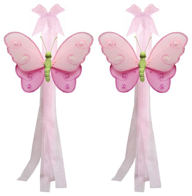 Butterfly Tie Backs Dark Pink Green Hailey Nylon Butterflies Tieback ...