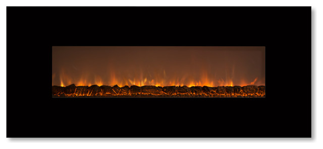 "Ambiance Linear Delux 2 Fireplace, 80"", Black, Standard Flames."
