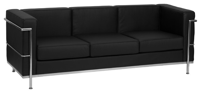 MFO Pristine Collection Contemporary Black Leather Sofa with Encasing Frame
