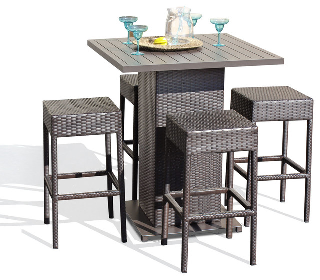 Awesome Venus Outdoor Pub Table With Bar Stools, 5 Piece Set, Backless Tropical