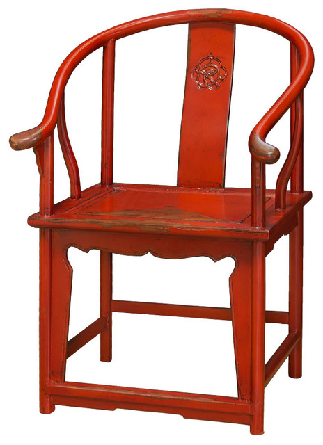 Elmwood Red Ming Chair   Asian   Armchairs And Accent Chairs   By China  Furniture And Arts