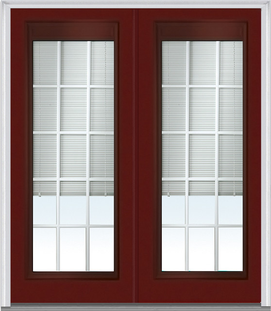 Low e glass mini blinds 15 lite fiberglass burgundy double for 15 lite entry door