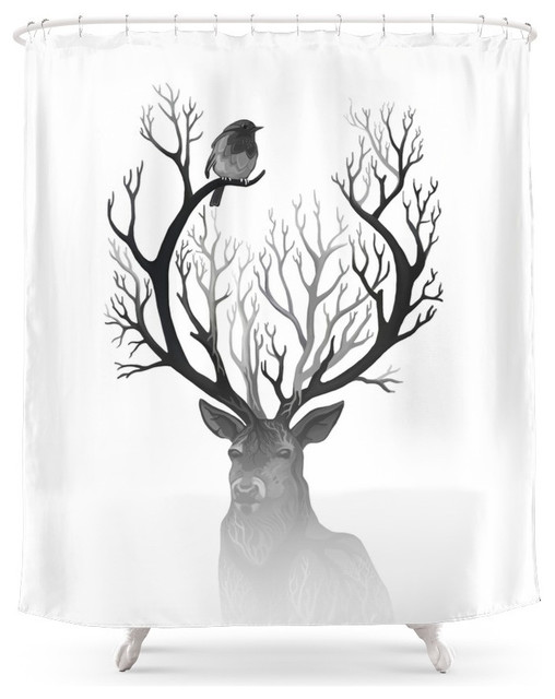society6 the black deer shower curtain rustic shower. Black Bedroom Furniture Sets. Home Design Ideas