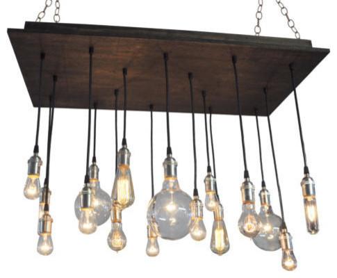 Modern Rustic Edison Style Chandelier, Dark Walnut, Black Socket, Suspended
