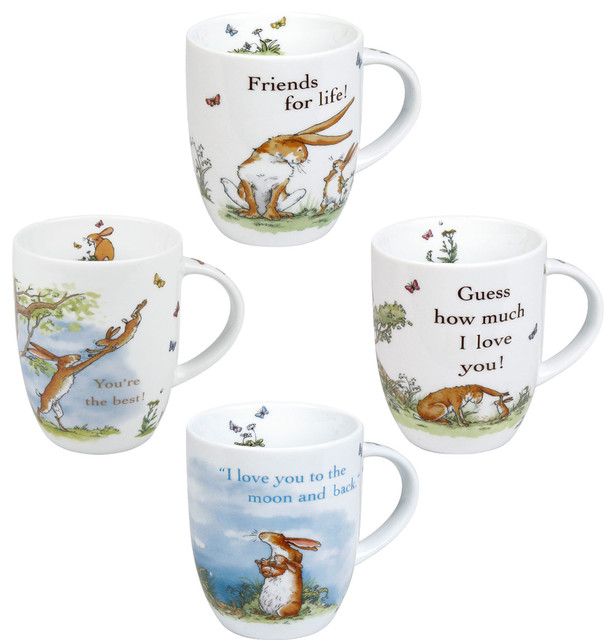 """Set of 4 Assorted Mugs """"Guess How Much I Love You"""" Collection"""