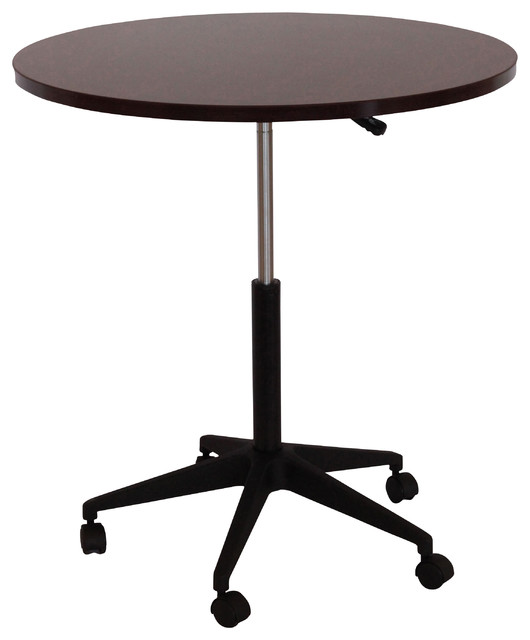 Boss Chairs 32 Inch Mobile Round Table in Mahogany  traditional-desks-and-hutches