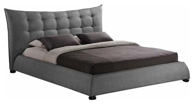 baxton studio studios gray linen upholstered on tufted - Upholstered Platform Bed
