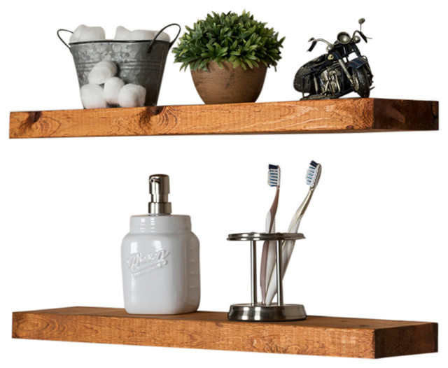 True Floating Shelves, Set of 2, Walnut transitional-display-and-wall