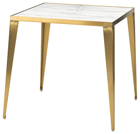Mink Side Table White Marble Brushed Gold Stainless Steel