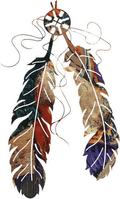 "Rustic Metal Wall Art two feather southwest rustic metal wall art 18"" - southwestern"